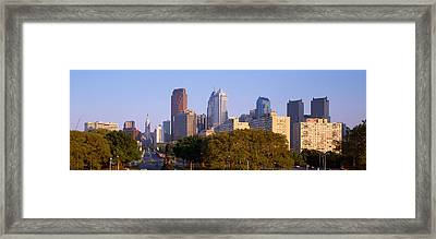 Skyscrapers In A City, Philadelphia Framed Print by Panoramic Images