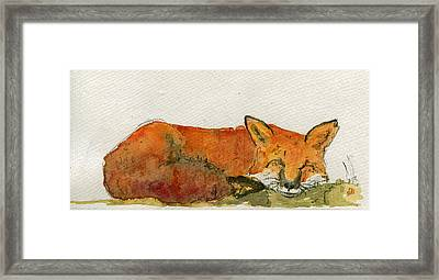Sleeping Red Fox Framed Print by Juan  Bosco