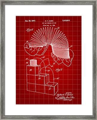 Slinky Patent 1946 - Red Framed Print