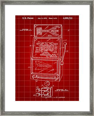Slot Machine Patent 1978 - Red Framed Print