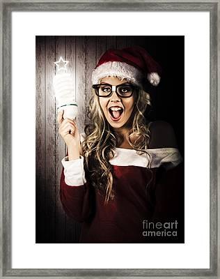 Smart Female Santa Claus With Christmas Idea Framed Print