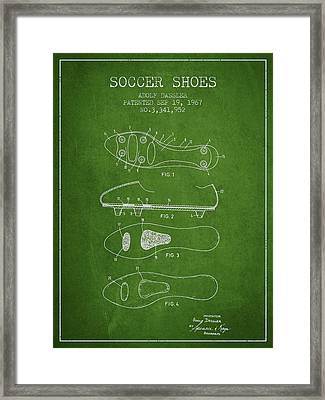 Soccer Shoe Patent From 1967 Framed Print by Aged Pixel