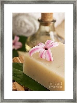 Spa Setting With Flower Framed Print