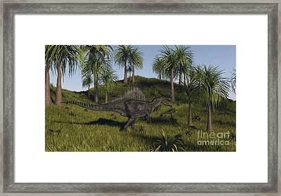 Spinosaurus Hunting In An Open Field Framed Print by Kostyantyn Ivanyshen