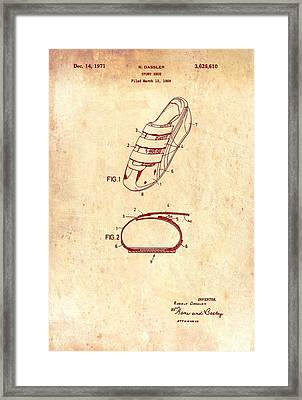 Sport Shoe Patent 1971 Framed Print by Mountain Dreams