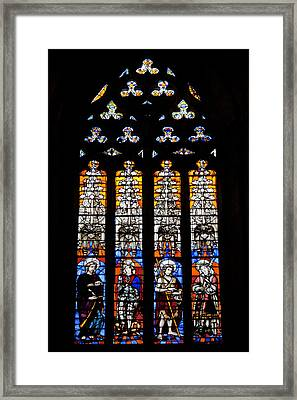 Stained Glass Window In The Seville Cathedral Framed Print by Artur Bogacki
