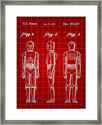 Star Wars C-3po Patent 1979 - Red Framed Print by Stephen Younts