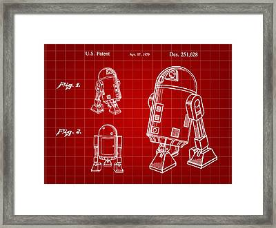 Star Wars R2-d2 Patent 1979 - Red Framed Print by Stephen Younts