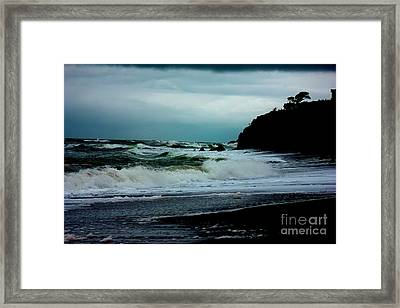 Stormy Seas At Night Framed Print