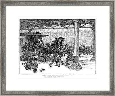 Streetcar Strike, 1889 Framed Print by Granger