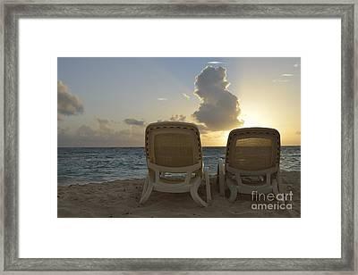 Sun Lounger On Tropical Beach Framed Print by Sami Sarkis