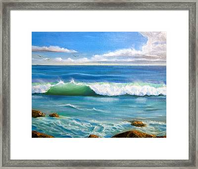 Sunny Seascape Framed Print by Heather Matthews