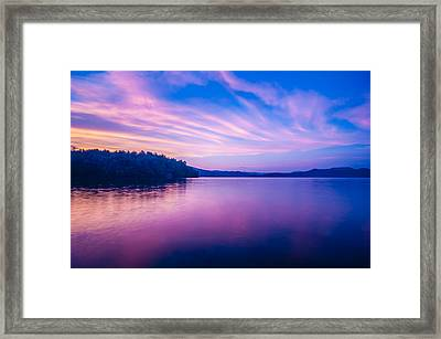 Sunset During Blue Hour At The Lake Framed Print