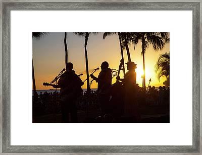 Sunset Hula Show, Waikiki, Honolulu Framed Print by Douglas Peebles