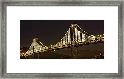 Suspension Bridge Lit Up At Night, Bay Framed Print