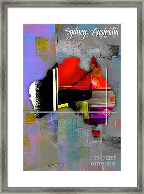 Sydney Australia Map Watercolor Framed Print