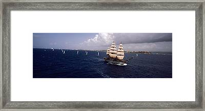 Tall Ship In The Sea, Puerto Rico Framed Print