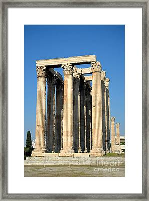 Temple Of Olympian Zeus In Athens Framed Print by George Atsametakis