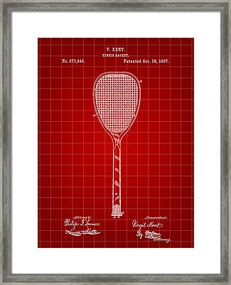 Tennis Racket Patent 1887 - Red Framed Print by Stephen Younts