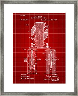 Tesla Electro Magnetic Motor Patent 1889 - Red Framed Print by Stephen Younts