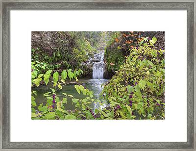 Texas Hill Country Images - Twin Falls In Autumn At Pedernales F Framed Print