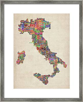 Text Map Of Italy Map Framed Print