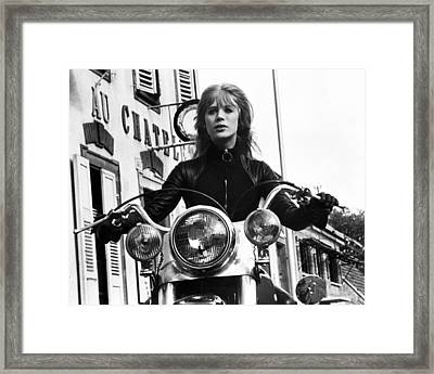 The Girl On A Motorcycle  Framed Print by Silver Screen