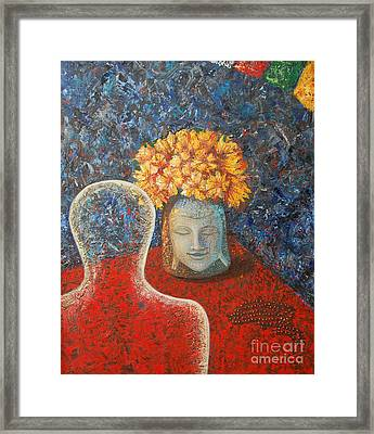 Framed Print featuring the painting Tibetan Prayers by Mini Arora