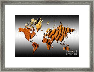 Tiger World Map Framed Print by Zaira Dzhaubaeva