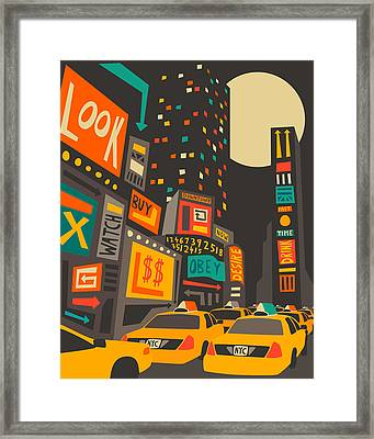 Time Square Framed Print by Jazzberry Blue
