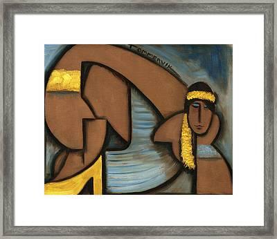 Cubist Hawaii Hula Girl Art Print Framed Print