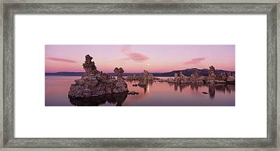 Tufa Rock Formations In A Lake, Mono Framed Print