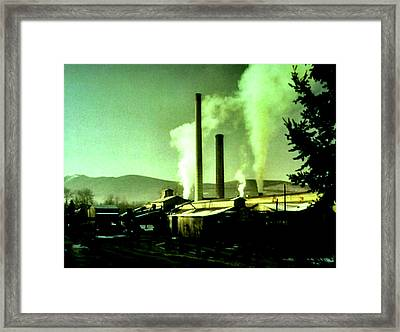 Framed Print featuring the painting Twin Peaks by Luis Ludzska