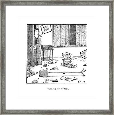 Artie, They Took My Bowl Framed Print