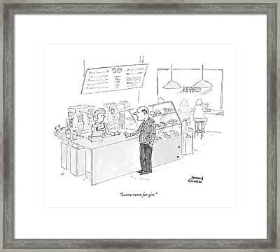 Leave Room For Gin Framed Print by Jonny Cohen