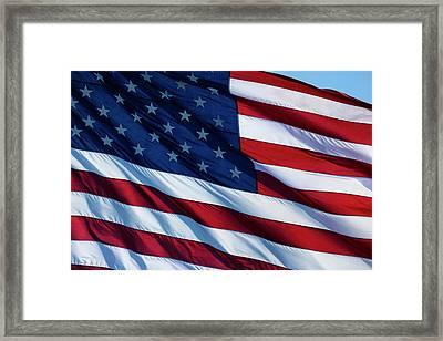 Usa, Oregon, Hood River, Us Flag Framed Print by Rick A Brown