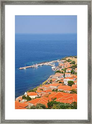 View Of Molyvos Village From The Castle Framed Print