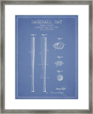 Vintage Baseball Bat Patent From 1939 Framed Print