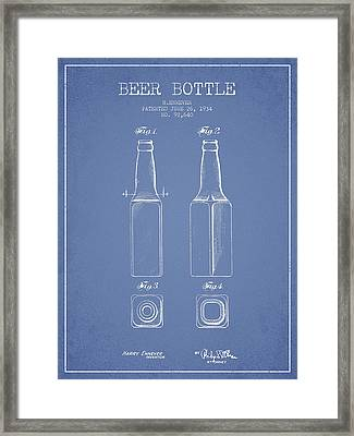 Vintage Beer Bottle Patent Drawing From 1934 - Light Blue Framed Print by Aged Pixel