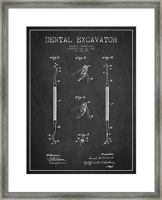 Vintage Dental Excavator Patent Drawing From 1896 - Dark Framed Print by Aged Pixel