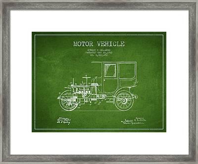 Vintage Motor Vehicle Patent From 1913 Framed Print
