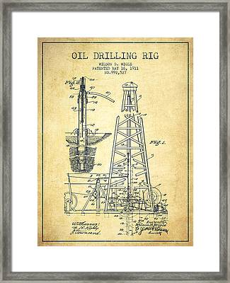 Vintage Oil Drilling Rig Patent From 1911 Framed Print
