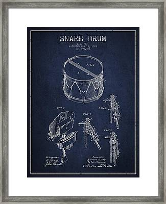 Vintage Snare Drum Patent Drawing From 1889 - Navy Blue Framed Print by Aged Pixel