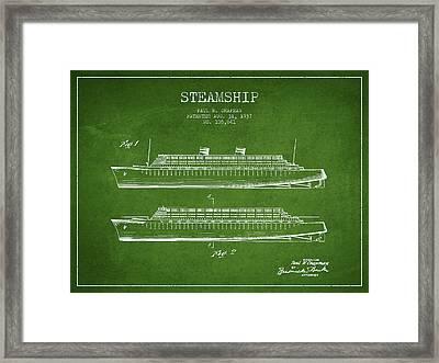 Vintage Steamship Patent From 1937 Framed Print