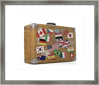 Vintage Suitcase With Stickers Framed Print by Ktsdesign