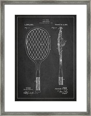 Vintage Tennnis Racket Patent Drawing From 1921 Framed Print by Aged Pixel
