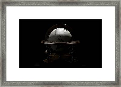 Vintage Wooden World Globe Framed Print