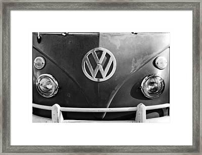 Volkswagen Vw Bus Front Emblem Framed Print by Jill Reger