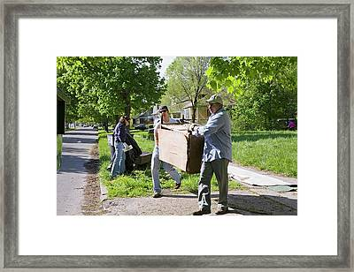 Volunteers Clearing Rubbish Framed Print by Jim West