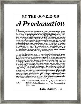 War Of 1812 Broadside Framed Print